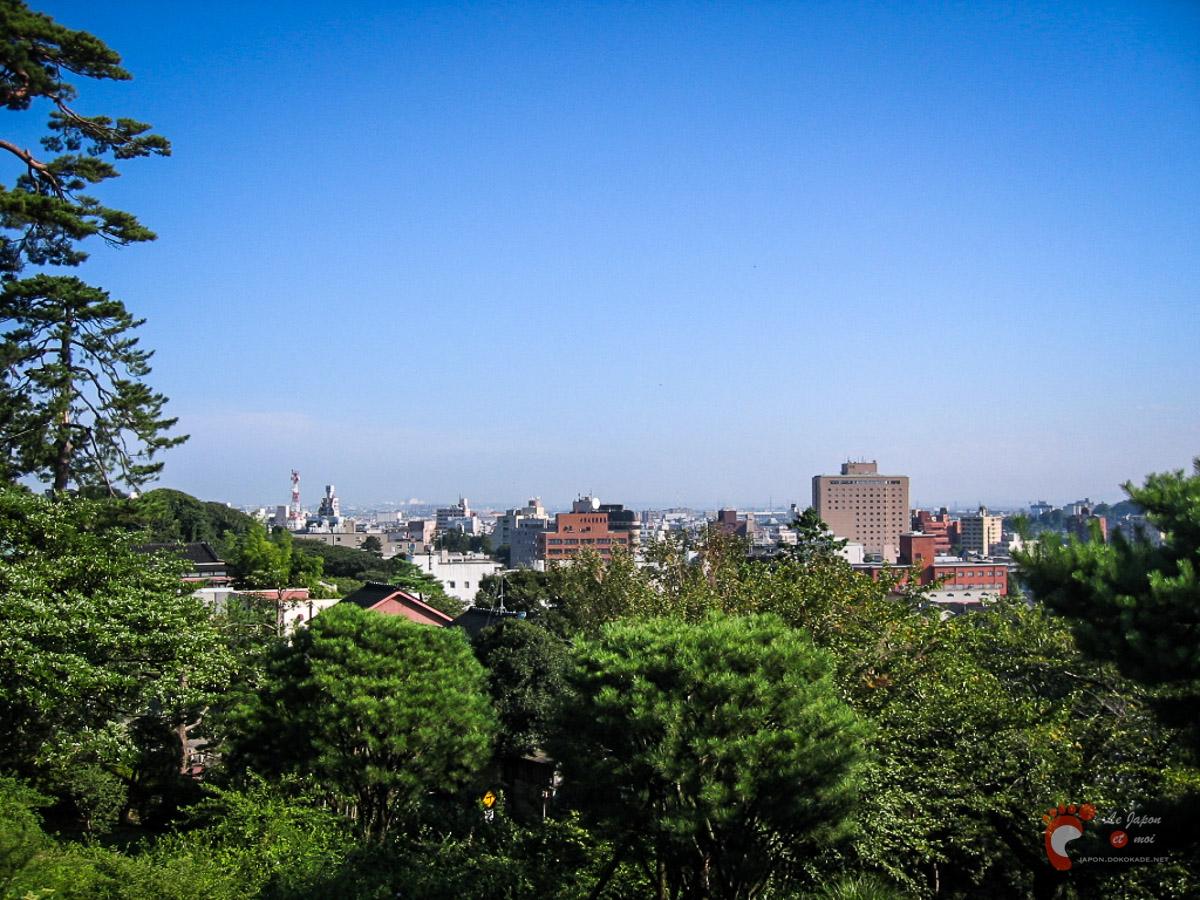 Vue de Kanazawa depuis le parc Kenrokuen